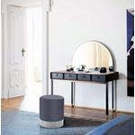 Joy Grey Velvet Ottoman/Stool - Chrome Base
