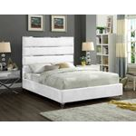 Zuma White Velvet Upholstered Platform Bed