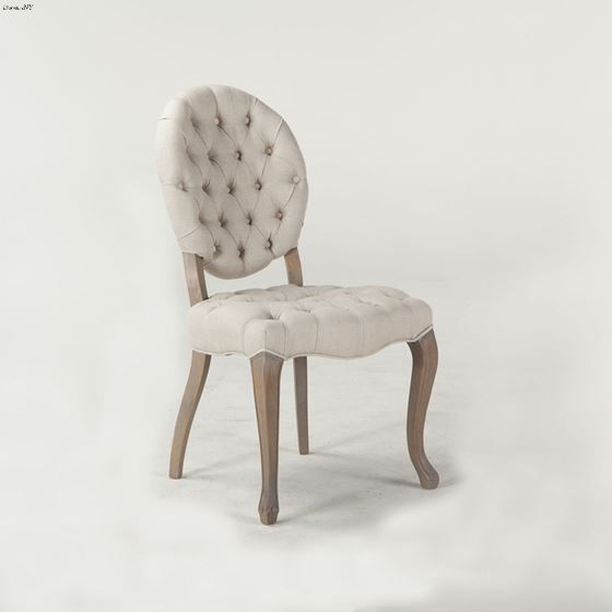 Penelope Tufted Linen Chair side