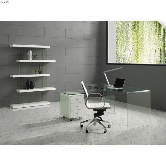 Rio Clear Glass Office Desk W/ High Gloss White  3